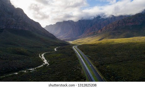 Aerial view in the Du Toitskloof pass between Cape Town and Worcester in the Western Cape of South Africa