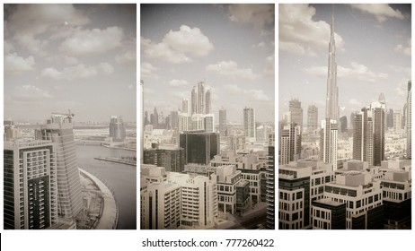 Aerial view of Dubai Downtown skyline along the river.