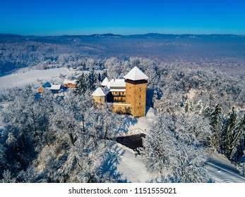 Aerial view of Dubovac castle in Karlovac in Winter, Croatia