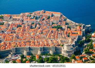 aerial view of Dubrovnik medieval Old town with its cozy architecture, South Dalmatia, Croatia