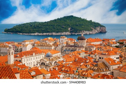 aerial view of the Dubrovnik old town with island Lokrum in a distance, Croatia