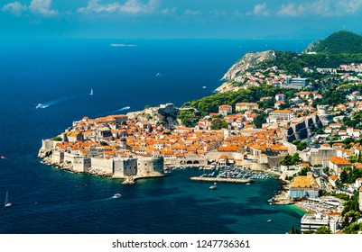 Aerial view of Dubrovnik, a prominent tourist destination on the Adriatic Sea in Croatia
