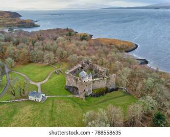 Aerial view of Dunstaffnage Castle near Oban, Scotland, UK