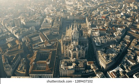 Aerial view of Duomo di Milano or Milan Cathedral. Lombardy, Italy