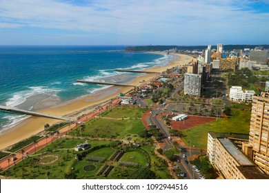 "Aerial view of Durban's ""Golden Mile"" beachfront from a rooftop, KwaZulu-Natal province of South Africa"