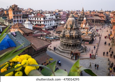 Aerial view of Durbar square in Kathmandu, capital of Nepal