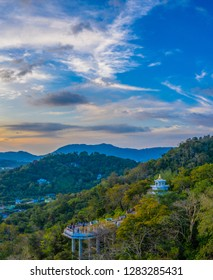 aerial view during sunset at Khao Rang the landmark viewpoint of Phuket place in the central of Phuket town. on Khao Rang viewpoint can see Phuket city to Chalong pier and Phuket big Buddha on hilltop