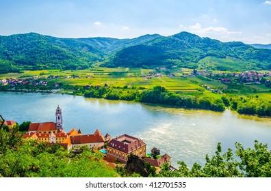 aerial view of Durnstein village situated in wachau valley in Austria