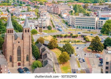 Aerial view of the Dutch city of Arnhem in the province of Gelderland