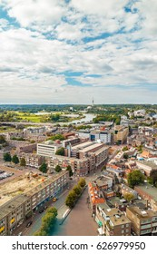 Aerial view of the Dutch city Arnhem in the province of Gelderland