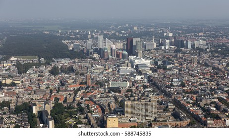 Aerial view of the Dutch city DEN HAAG, The Hague, Holland. In the middle of the picture Malieveld and Binnenhof, where the goverment is located. In the back the skyline with skyscrapers.