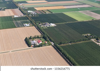 Aerial view Dutch polder Noordoostpolder with farmhouses and agricultural landscape