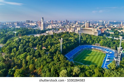 Aerial view of Dynamo Stadium, Verkhovna Rada and Government Building in Kiev, Ukraine