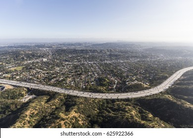 Aerial view of the Eagle Rock neighborhood and Ventura 134 Freeway in Los Angeles, California.