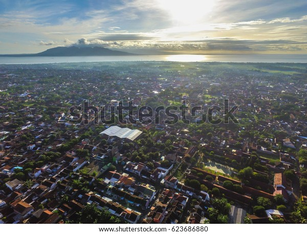 An Aerial View of Early Morning in the City of Banyuwangi