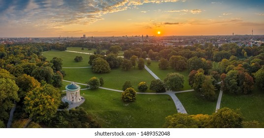 Aerial view at the early sunrise in the Englischer Garden of Munich, such a beautiful place in Bavaria, germany.