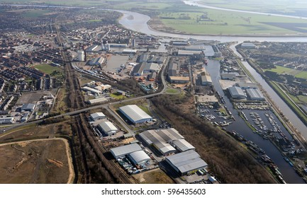 aerial view of the East Yorkshire port of Goole, UK