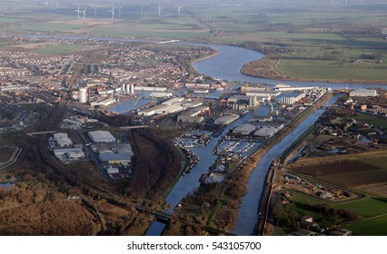 aerial view of the East Yorkshire town port of Goole, UK