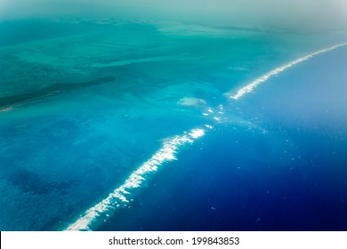 Aerial view of eastern coast of Belize  and Caribbean barrier reef