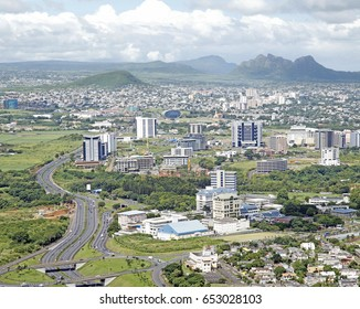 Aerial view of Ebene cyber city of Mauritius which is an IT hub