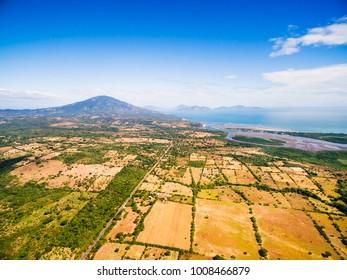 An aerial view of the edge of El Salvador near the border of Honduras.