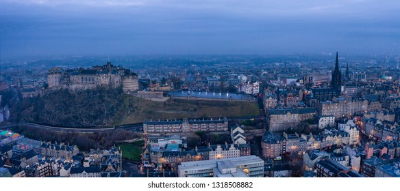 Aerial view of Edinburg. sunrise in the city