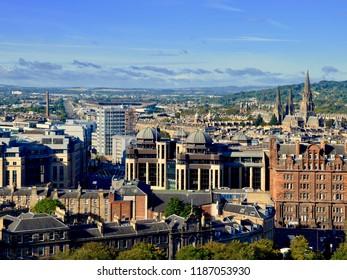 Aerial view of Edinburgh city West End. Edinburgh city, Scotland UK. SEPTEMBER 2018
