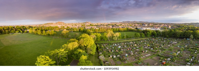 Aerial view of Edinburgh with Inverleith Park and allotments in the foreground.