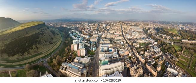 Aerial view of Edinburgh's downtown. Scotland, UK