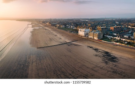 Aerial view of Edinburgh's Portobello beach and promanade