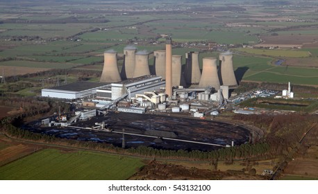 aerial view of Eggborough Power Station in West Yorkshire, UK