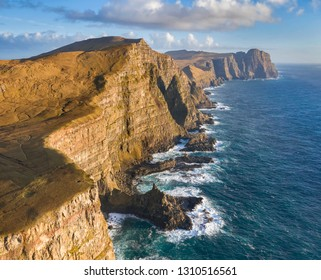 Aerial view of the Eggjarnar Cliffs along the Suduroy coast in the Faroe Islands.