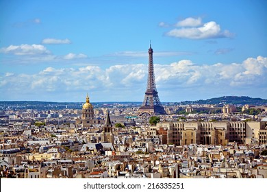 Aerial view of the Eiffel Tower from Notre Dame de Paris