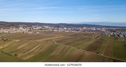 An aerial view of Eisenstadt and the Leithagebirge, Burgenland, Austria