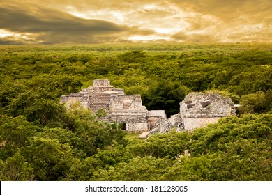 Aerial view of Ek Balam (black jaguar) surrounded by jungle. Mayan archaeological site in Yucatan, Mexico