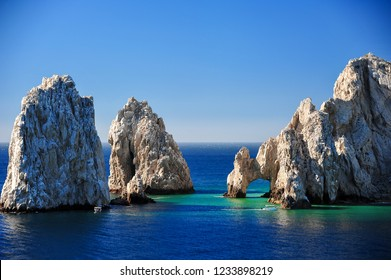 Aerial view of El Arco, at Land's End, Cabo San Lucas. Giant rocky outcrops featuring a natural arch, are one of the most famous natural attractions of Mexico.