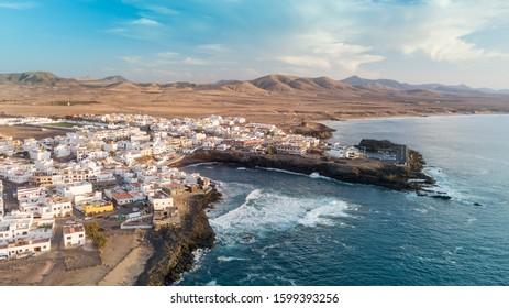 Aerial view of El Cotillo bay, fuerteventura. Canary islands