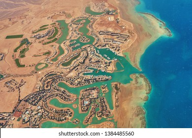 Aerial view of El Gouna a luxury Egyptian tourist resort located on the Red Sea 20 kilometres north of Hurghada with many hotels, pools, reefs, golf course etc.