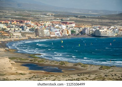 Aerial view of El Medano bay. Famous water sport spot of Tenerife island. Canarias, Spain.