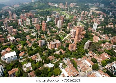 Aerial view of El Poblado, Medellin, Colombia