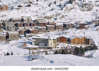 Aerial view of El Tarter - a village in Pyrenees Mountains, Andorra and a part of Grandvalira winter resorts