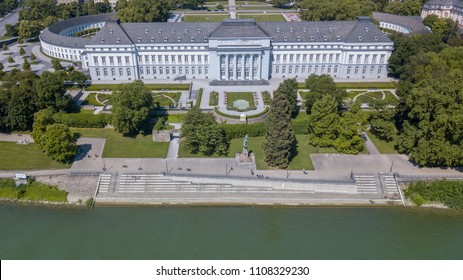 Aerial view of Electoral Palace Koblenz and park garden Germany interesting places