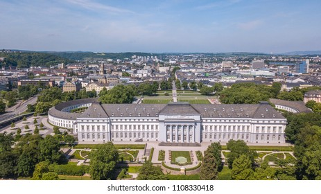 Aerial view of Electoral Palace Koblenz Germany and Koblenz city