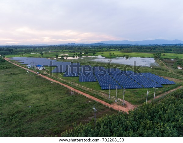 Aerial view, electric power plant Solar energy