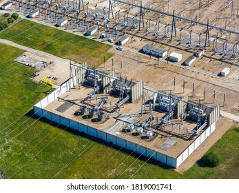 aerial view of an electric transformer