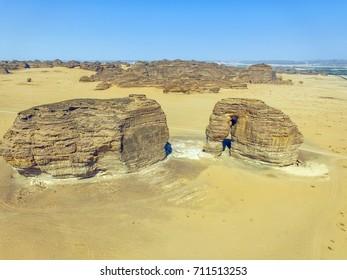 Aerial view of Elephant Rock, Al Ula, KSA