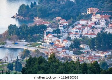 Aerial view of Elios coastal village in Skopelos island, Sporades, Greece