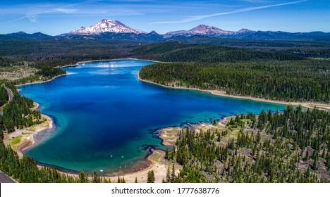 Aerial view of Elk Lake near Bend, Oregon