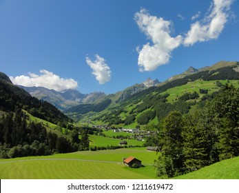 Aerial view of the Elm valley. Beautiful swiss alps with very good weather. CH Switzerland