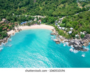 Aerial view of emerald tropical sea, Coral Cove Beach, Ko Samui, Thailand